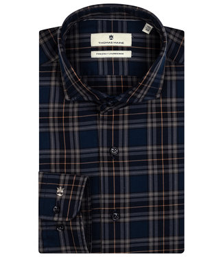 Thomas Maine overhemd donkerblauw taupe bruin ruit