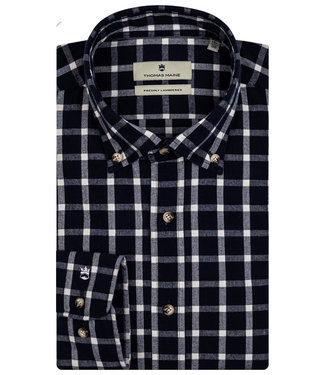 Thomas Maine overhemd donkerblauw-wit grote flanel ruit