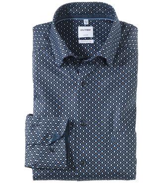 Olymp overhemd donkerblauw wit lichtblauw print