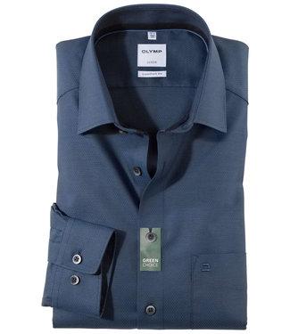 Olymp overhemd donker kobaltblauw structuur donkerblauwe knopen