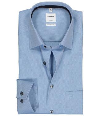 Olymp overhemd lichtblauw structuur donkerblauwe knopen