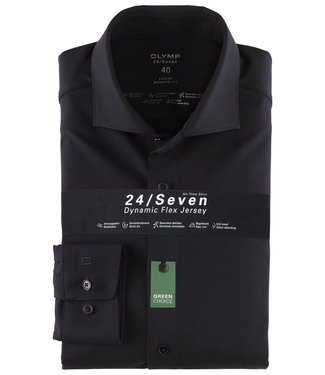 Olymp overhemd donkerblauw dynamic flex jersey mouwlengte 7