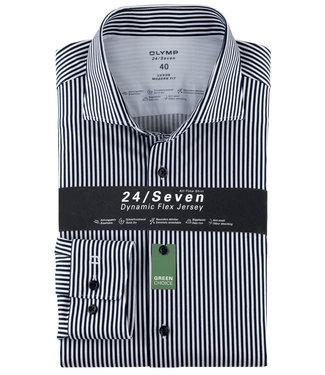 Olymp overhemd donkerblauw-wit streepje dynamic flex jersey