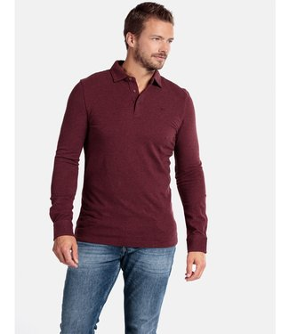 Giordano Tailored lange mouw polo bordeaux rood