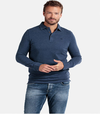 Giordano Tailored lange mouw polo jeans blauw