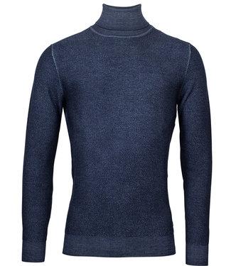 Thomas Maine heren jeans blauw structuur coltrui