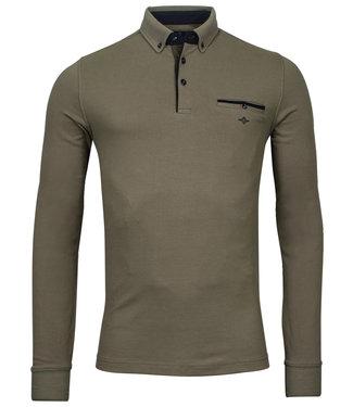 Giordano Tailored lange mouw polo bruin khaki