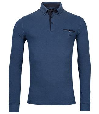 Giordano Tailored lange mouw polo kobaltblauw blauw