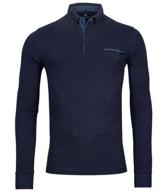 Giordano Tailored lange mouw polo donkerblauw