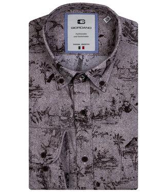 Giordano Tailored heren overhemd bruin visgraat met print
