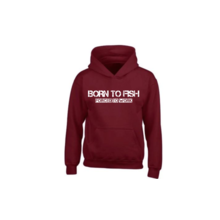 House of Carp Hoodie Burgundy - Born to Fish White