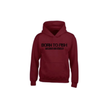 House of Carp Hoodie Burgundy - Born to Fish Zwart