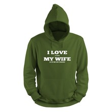 House of Carp Hoodie Groen - I love My Wife Wit