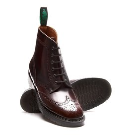 SOLOVAIR SOLOVAIR BURGUNDY RUB-OFF 6 EYE BROQUE BOOT
