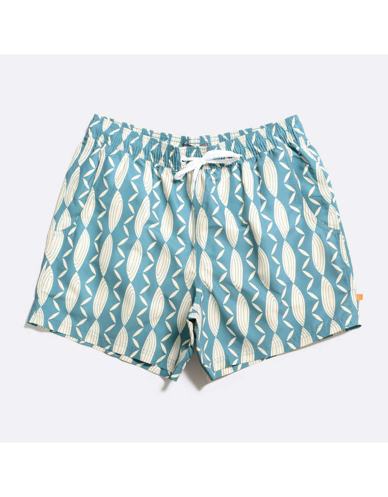 FAR AFIELD FAR AFIELD PRINTED SWIMSHORT CONCH GREEN RECYCLED PLASTIC