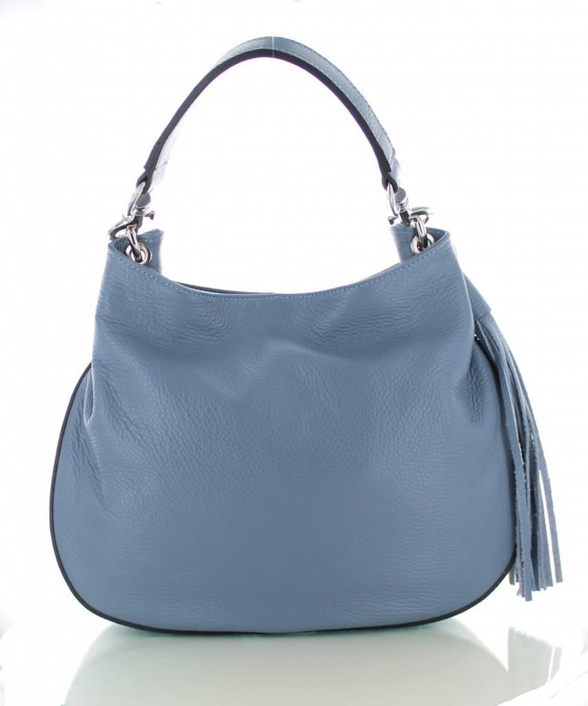 db9449d969b Sofia, ijsblauwe leren stijlvolle handtas | Colori Shoes & Accessories