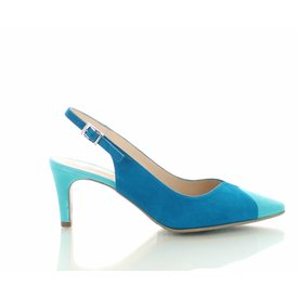 Colori Mirano, Suede Slingback Pumps Turquoise