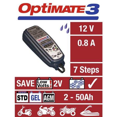 Tecmate Optimate 3 - alles-in-1 automatische lader, tester en onderhouder