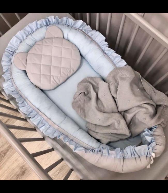 Glitz4kids Baby nestje ruffle blue grey