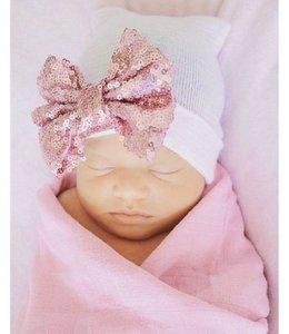 Glitz4kids Geboorte mutsje roze glitter