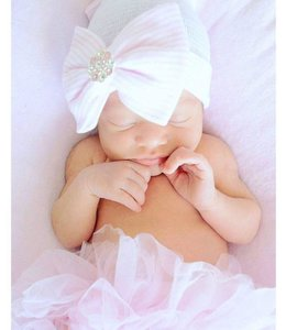 Glitz4kids Birth hat pink bow