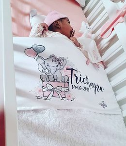 Glitz4kids Babydeken met naam | Olifant roze