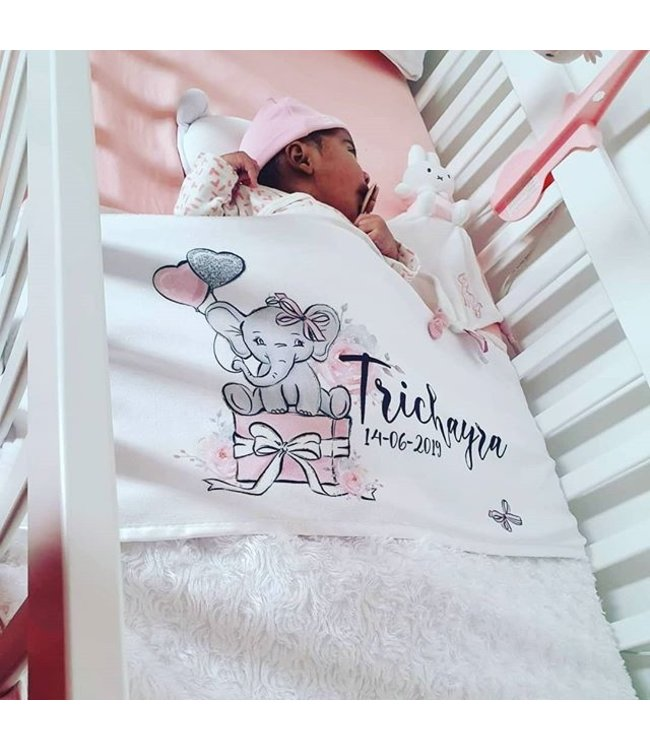 Deken Met Naam.Baby Deken Met Naam Olifant Roze
