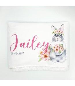 Glitz4kids Babydeken met naam | Flower bunny