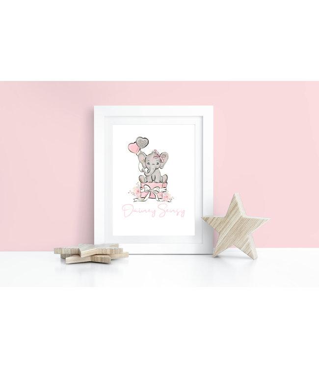 Geboorteposter met naam olifant roze
