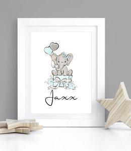 Glitz4kids Geboorteposter met naam olifant blauw