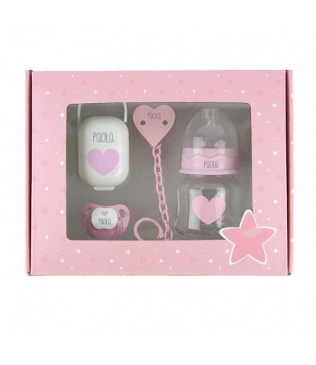 Glitz4kids Geboorte kadobox | Speen en fles roze