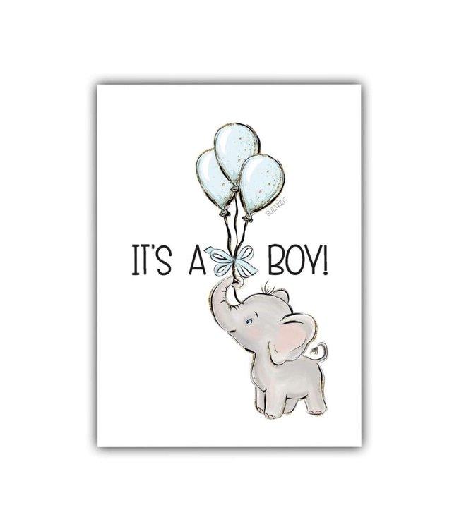 Glitz4kids Kaartje | It's a boy met olifant