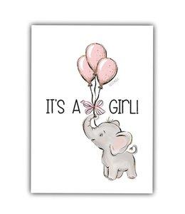 Glitz4kids Kaartje   It's a girl
