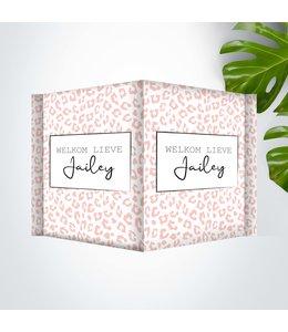 Glitz4kids Geboorte raambord | Leopard roze square