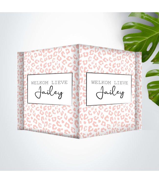 Glitz4kids Geboorte raambord | Leopard roze