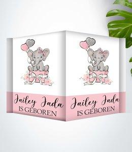 Glitz4kids Geboorte raambord | Roze olifant