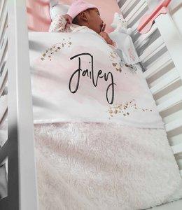 Glitz4kids Babydeken met naam |  Glitter wolk roze