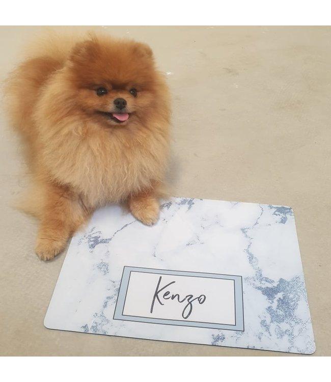 glitz4kids Honden placemat met naam | Marble blue