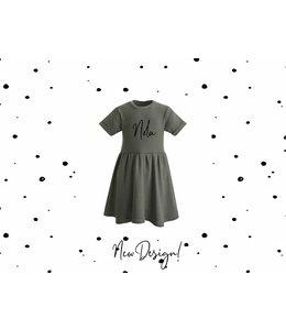 Glitz4kids Khaki jurk | Met naam