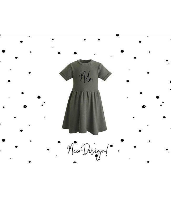 Glitz4kids Khaki jurk | Met naam  *