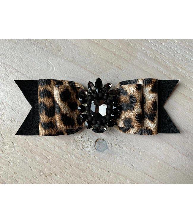 Haarstrik limited edition leopard zwart