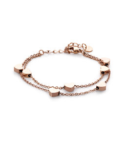 Dubbele hart armband |rosé goud