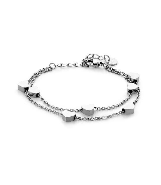 Ducett Dubbele hart armband   zilver