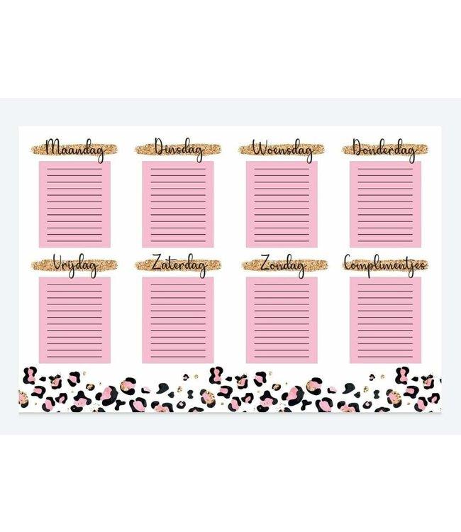 Weekplanner whiteboard sticker | Leopard pink