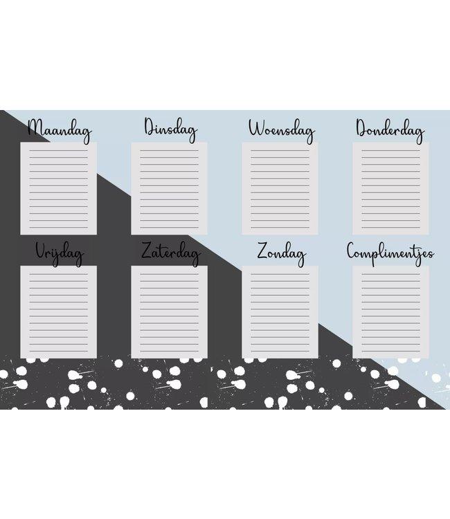 Weekplanner whiteboard sticker | Blauw met grijs