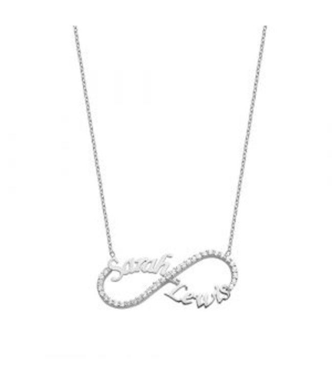 Sprankelende infinity ketting zilver
