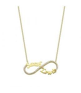 Sprankelende infinity ketting goud