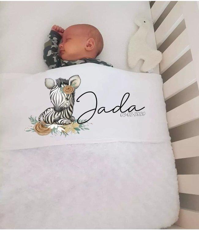 Glitz4kids Babydeken met naam | Zebra