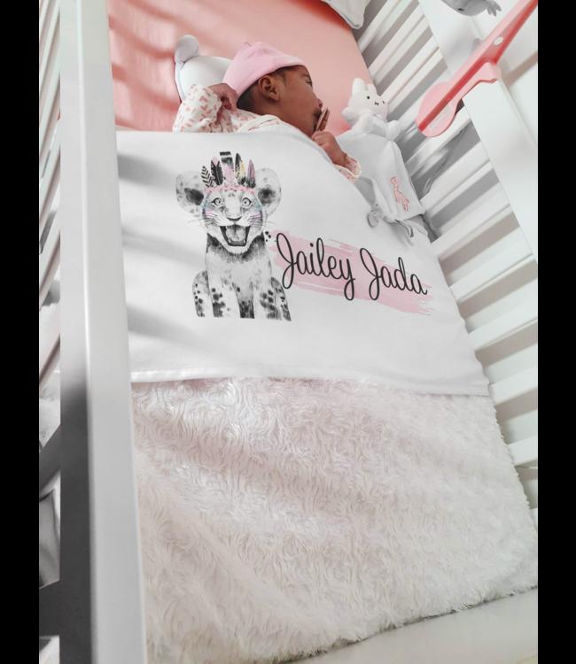 Glitz4kids Babydeken met naam | Feather lion pink