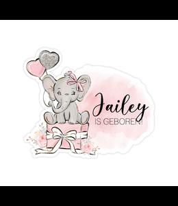 glitz4kids Geboorte raamsticker | Roze olifant brush